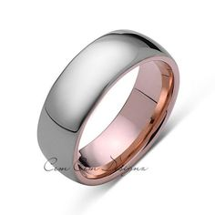 8mm,Unique,High Polish,Rose Gold,Tungsten Ring,Wedding Band,His and Hers