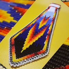 Another one order done, just need to find the clip for the tie #beadedtie #beadwork #beads #tie #powwow #seedbeads