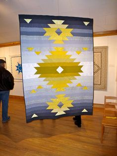 This design came from my love of all things Pendleton! Designed, pieced, and quilted by me. Quilting Projects, Quilting Designs, Craft Projects, Southwestern Quilts, Indian Quilt, Summer Quilts, Native American Design, Blue Quilts, Quilted Wall Hangings