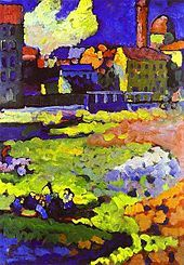 Colorful abstract painting with buildings and a church in the background 1908 kandinsky