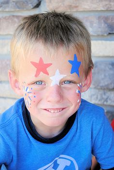 Easy face painting with people paint by decoart adult face painting, painting for kids, Face Painting Images, Face Painting For Boys, Face Painting Designs, Body Painting, Face Paintings, Boy Face, Child Face, 4th Of July Party, Fourth Of July