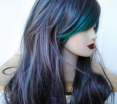 SALE Green wig cosplay wig scene wig emo wig // by MissVioletLace