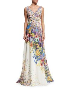 Sleeveless+Floral-Print+Gown+by+David+Meister+at+Neiman+Marcus.