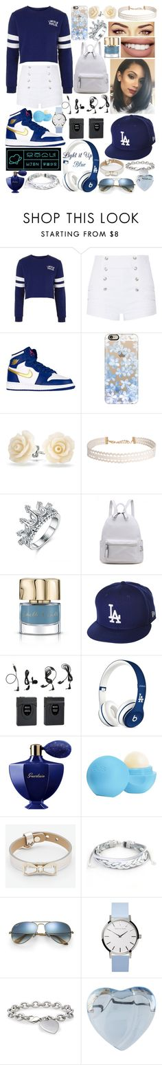 """""""Blue swag"""" by karressguidycapers ❤ liked on Polyvore featuring Topshop, Pierre Balmain, Casetify, Bling Jewelry, Humble Chic, Smith & Cult, Bow & Arrow, New Era, Guerlain and Eos"""