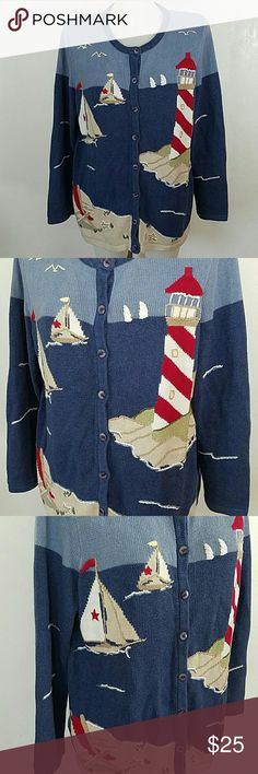"Hand Embroidered Lighthouse Cardigan Sweater Hand Embroidered Lighthouse Cardigan Sweater by C.J. Banks. In great condition. Size x. Bust 44"" Length 26"" Christopher & Banks Sweaters Cardigans"