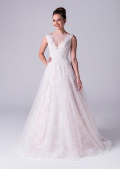 Viola Chan wedding dress, Soft A-line plunging V-neck all over lace dress