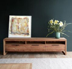 Ethnicraft Teak Light Frame TV Console with 3 Drawers.   #Stylish #Furniture #Living #Modern #Decor   Shop More! https://www.originals.com.sg/products/light-frame-tv-console-3-drawer-storage-shelving
