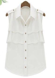 Shop Sleeveless Layered Ruffle Chiffon White Shirt at ROMWE, discover more fashion styles online. Chiffon Ruffle, Chiffon Shirt, Chiffon Tops, White Chiffon, White Sleeveless Blouse, Madame, Look Cool, Fashion Outfits, Womens Fashion