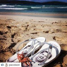 Una de las fotos más originales que hemos recibido con nuestras chanclas Rookies. Gracias @pacoleon por la instantánea. Que las disfrutes y cuidado con el cangrejo ;) #chanclas #playa #madeinspain
