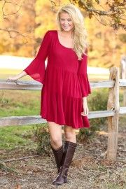 Follow Your Heart Dress-Burgundy