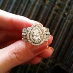 My beautiful Neil Lane Wedding set! Pear shaped, double halo! #engagement #ring