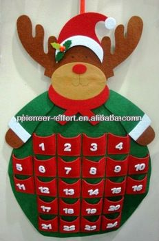 Felt christmas decoration wall decoration advent calendar reindeer shaped
