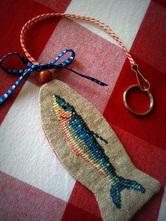 cute!  Fish No 3  Hand Embroidered Keychain  Bag Charm by deepindigo, €12.00