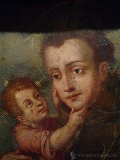 Arte: Precioso San Antonio de Padua pintado al oleo sobre cobre del S. XVIII enmarcado. Calidad maxima. - Foto 2 - 31469730