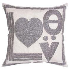 Jonathan Adler Love Linen Beaded Pillow