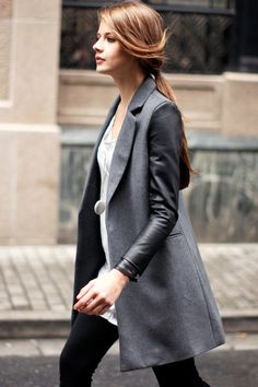 leather sleeved coat