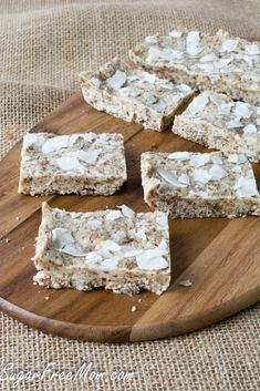 No Bake Sugar Free Coconut  Cashew Protein Bars-- a homemade, low carb and less expensive version of the Quest Coconut cashew bars! www.sugarfreemom.com