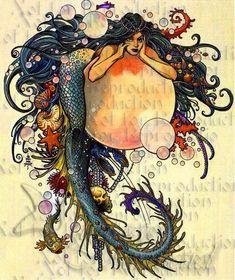 s575 VINTAGE ART NOUVEAU  Mermaid Fabric by wwwvintagemermaidcom, $3.00