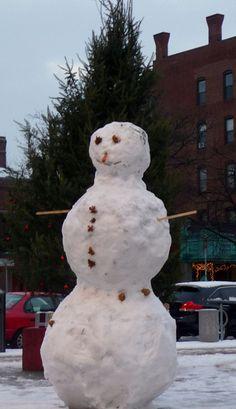Snowman in Central Square.  DiscoverCentralSquare.com