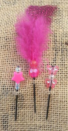 Hot Pink Feathers and Beads Push Pin Set by GrlFridayProductions, $5.00