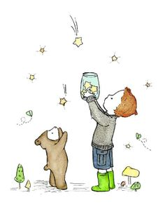 Children's Art Catching Stars 8x10 Art Print by trafalgarssquare, $20.00