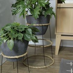 Elevated plant stands don't need to be expensive. Take a day for a DIY project to make a plant stand with an upside-down tomato cage. Dress up the metal cage with tightly-wrapped rope for added color and texture. Finish the look with a fun pot and colorful plants. #diyplantstand #bohodecordiy #easyplantstand #plantstandideas #bhg House Plants Decor, Plant Decor, Indoor Garden, Indoor Plants, Balcony Garden, Indoor Plant Shelves, Balcony Plants, Boho Diy, Boho Decor
