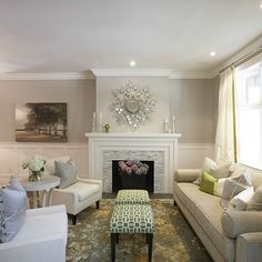 Meredith Heron Design - living rooms - gray walls, gray paint, gray paint colors, board and batten, living room board and batten, living roo...