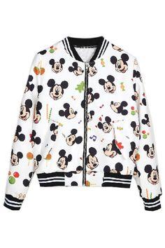 Chic Mickey Pattern Baseball Jacket