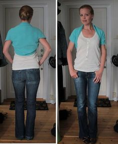 The perfect shrug/bolero: The pattern is basically a T, and there are only two seams. Sewing Patterns Free, Free Sewing, Clothing Patterns, Dress Patterns, Sewing Hacks, Sewing Tutorials, Sewing Projects, Sewing Tips, Diy Clothing
