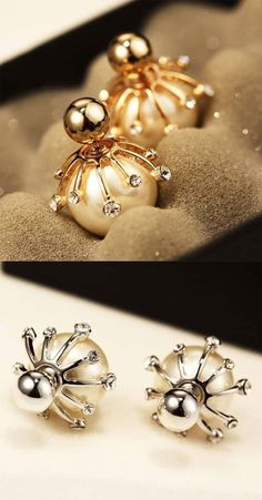 Elegant Frosted Pearl Ball Diamond-bordered Silver Women Earring Studs is so cute ! #cute #silver #earrings #ball #pearl #jewelry #elegantearrings