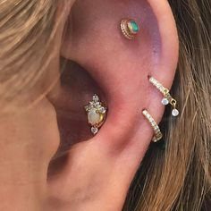 """1,372 Likes, 4 Comments - Maria Tash (@maria_tash) on Instagram: """"Perfectly situated the Opal and Diamond Tiara stud really scintillates in this #conch. The helix is…"""""""
