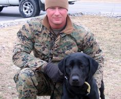 Happy Armed Forces Day. Marine Cpl. Brian Holm with King Cole, a bomb-sniffing Labrador retriever.