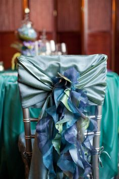 Our Curly Willow Ruffles tie accessory clip in peacock blues with blue sash (wfl iridescent taffeta peacock sash) - With Classic Creations