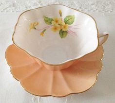 Peach Primrose Stratford Shelley Tea Cup & Saucer