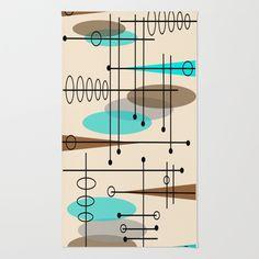 Mid-Century Modern Atomic Inspired Area & Throw Rug by Kippygirl - $28.00