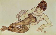 Egon Schiele  Reclining woman with black stockings, 1917  Private Collection