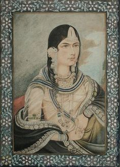 Hamida Banu Begum, wife of Mughal Emperor Humayun. Anglo-Indian school at Lucknow - circa late century. her earrings are AMAZING Mughal Architecture, Art And Architecture, Jaisalmer, Udaipur, King Of India, Taj Mahal, Mughal Paintings, Indian Paintings, Vintage India