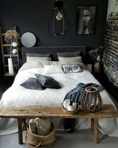 Black wood · nordic bedroom by 😮 nordic bedroom, cozy bedroom, dream bedroom, room Nordic Bedroom, Diy Home Decor Bedroom, Cozy Bedroom, Dream Bedroom, Bedroom Furniture, Modern Rustic Decor, Decoration Inspiration, Master Bedroom Design, My New Room