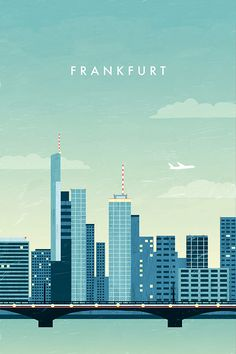 Minimalist travel poster of Frankfurt by Katinka Reinke. Illustration of Frankfurt Skyline - metal poster. This is an affiliate link. Editorial Illustration, Travel Illustration, Graphic Design Illustration, Illustration Girl, Frankfurt Skyline, City Poster, Illustrator, Image Film, Kunst Poster