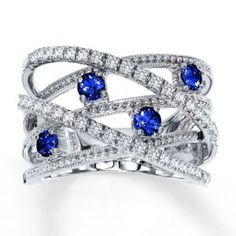 Jared Natural Blue Sapphire Ring unusual Diamond 10K White Gold- Sapphire.jpg