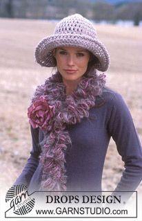 Hat in Alaska and boa in Eskimo, Puddel and Vienna. ~ DROPS Design free crochet pattern