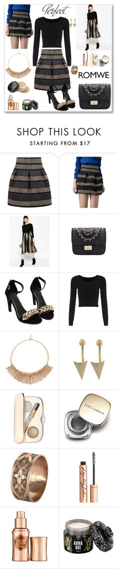 """""""Romwe Striped Skirt"""" by ludmyla-stoyan ❤ liked on Polyvore featuring ASOS, Jane Iredale, Tag, Dolce&Gabbana, Vintage, Charlotte Tilbury, Benefit, Anna Sui, skirt and romwe"""