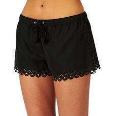 Seafolly Bella Rose Board Shorts - Black | Free UK Delivery