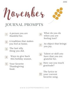 November 2016 Journal Prompts - Gratitude and Joy. New prompts released the beginning of each month >> Eight Pepperberries blog Daily Journal, My Journal, January Journal Prompts, Journal Ideas, Writing Challenge, Journal Challenge, Journal Questions, Scrapbook Journal, Bullet Journal Inspiration