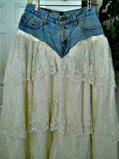Belle Bohémienne ballroom jean skirt high waisted by bohemienneivy,