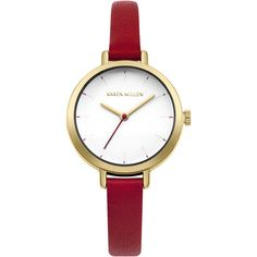 Karen Millen Skinny Leather Strap Watch ($85) ❤ liked on Polyvore featuring jewelry, watches, dial watches, leather-strap watches, karen millen, pin jewelry and karen millen jewellery