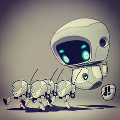 "#marchofrobots 14-001 ""Forward March!"" by Dacosta! marchofrobots.com #leftleftleftrightleft @Wacom @CorelPainter #robot"