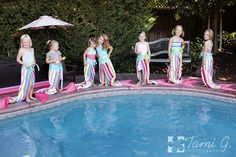 Mermaid Tail Towels. I did this with hot pink faux sequin fabric and two ponytail holders in 30 seconds.  7 year old is a mermaid and I am the best mother ever, for today.