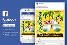 Vocation & Tour Facebook Post by Design Up on @creativemarket