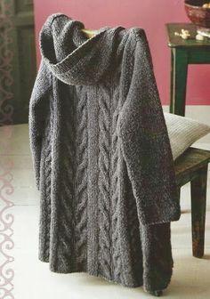 Patrón Chaleco detalle de ochos a Do회색후드s Agujas Cardigan Pattern, Sweater Knitting Patterns, Knit Patterns, Knit Cardigan, Cable Knitting, Knitted Poncho, Knit Jacket, Hooded Sweater, Beautiful Crochet